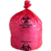 "Linear Low Density Red Infectious Waste Liner, 1.5 mil, 24"" x 24"", Pkg Qty 200"