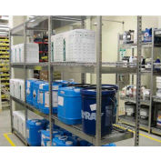 """V-Grip Pre-Configured Wire Shelving Spill Containment System - 48""""W x 18""""D x 84""""H - Starter - Blue"""