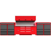 """EquiptoBay EBDWB120 Double Workbench System 240""""W x 30""""D x 81""""H - Rouge"""
