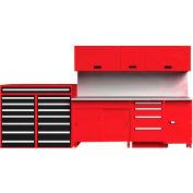 "EquiptoBay EBPSWB96 Premium Single Workbench System 156""W x 30""D x 81""H - Rouge"