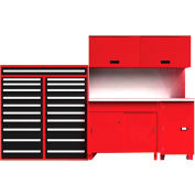 "EquiptoBay EBSWB72 Standard Single Workbench System 132""W x 30""D x 81""H - Rouge"