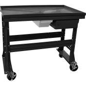 "Equipto Teardown Bench, Fluid Container, Drawer, 48""W x 30""D, Black"