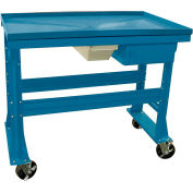 """Equipto Teardown Bench, Fluid Container, Drawer, 60""""W x 30""""D, Blue"""