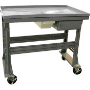 """Equipto Teardown Bench, Fluid Container, Drawer, 60""""W x 30""""D, Gray"""