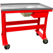 "Mobile Teardown Bench 60""W x 30""D x 37""H w/Fluid Container - Drawer-Red Bench Stainless Steel Top"