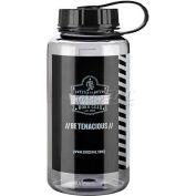 Ergodyne Chill-Its® Plastic Wide Mouth Water Bottle, 1 Liter, Gray, 13152