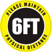 Please Maintain Physical Distance Sign, 8'' Round, Vinyl Adhesive