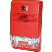 "Edwards Signaling, EG1T-FIRE, Genesis Trim Plate For Two-Gang Or 4"" Square Boxes, White, Marked Fire"