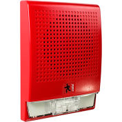 Edwards Signaling G4HFRN-S2VMC Wall Speaker, Strobe, 25 V, Red, Clear Lens, No Text Markings