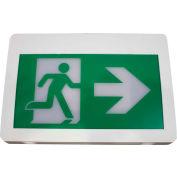 LED Exit Sign, Green Color, Double Face, Battery Backup, 120/347 Volt