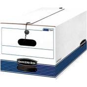 "Fellowes Stor/File™ Legal Boxes w/ String & Button Closure, 24""L x 15""W x 10""H, White & Blue - Pkg Qty 12"