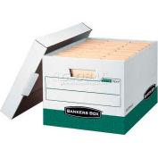 """Fellowes R-Kive® Letter/Legal Storage Boxes, 15""""L x 12""""W x 10""""H, White & Green - Pkg Qty 12"""