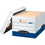 """Fellowes R-Kive® Letter/Legal Storage Boxes, 15""""L x 12""""W x 10""""H, White & Blue - Pkg Qty 12"""