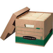 """Fellowes Recycled Stor/File™ Letter/Legal Storage Boxes, 15'L x 12""""W x 10""""H, Kraft & Green - Pkg Qty 12"""