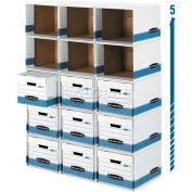 "Fellowes Bankers Letter/Legal Box File/Cube Box Shell, 15""L x 12""W x 10""H, White & Blue - Pkg Qty 6"