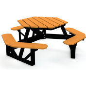 Global Industrial™ Recycled Plastic Hexagon Picnic Table With Black Frame, 6', Cedar