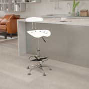 Flash Furniture Desk Stool with Back - Plastic - White