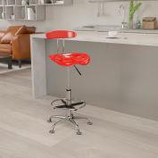 Tabouret bureau meubles flash Back - plastique - rouge