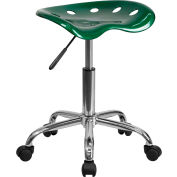 Flash meubles bureau tabouret - dos nu - plastique - vert