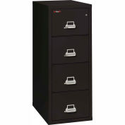 "Fireking Fireproof 4 Drawer Vertical File Cabinet - Letter Size 18""W x 31-1/2""D x 53""H - Black"