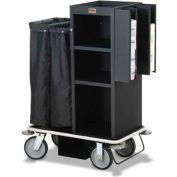 Forbes Steel Compact Guest Room Attendant Housekeeping Cart, Black - 2110-EN