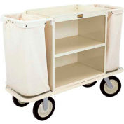 "Forbes Steel Housekeeping Cart with 10"" Wheels, Beige - H1001-BE"