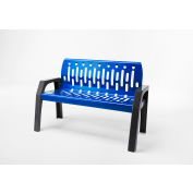 Frost Stream 4' Steel Bench, Blue with Gray Frame