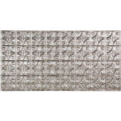 Fasade Traditional Style # 1 - 2' X 4' Vinyl Glue-Up Ceiling Tile in Crosshatch Silver - G50-21