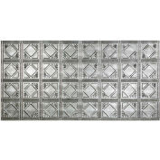 Fasade Traditional Style # 4 - 2' X 4' Vinyl Glue-Up Ceiling Tile in Crosshatch Silver - G53-21