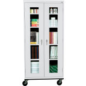 Sandusky Mobile Clear View Storage Cabinet TA4V362472 - 36x24x78, Light Gray