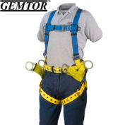 Gemtor 2010-2, Tower Climber Full-Body Harness - Tongue Buckle Leg Straps - Universal Hip & D-Rings