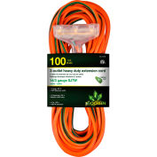 GoGreen Power, 14/3 100' 3-Outlet Heavy Duty Extension Cord, GG-15100, Lighted End