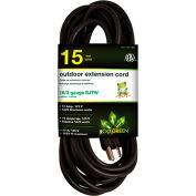 GoGreen Power 16/3 SJTW 15ft Heavy Duty Extension Cord, GG-13715BK - Black