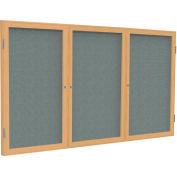 Ghent® 3 porte joint tissu babillard, trame de chêne/tissu gris, 4' x 8'