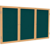 Ghent® 3 porte joint tissu babillard, trame de tissu/chêne bleu, 4' x 8'
