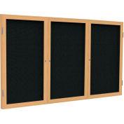 Ghent® 3 porte joint tissu babillard, trame de chêne/tissu noir, 4' x 8'