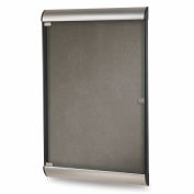 "Ghent® Silhouette Upscale Wall-Mounted Enclosed Bulletin Board, Charcoal, 27-3/4""W x 42-1/8""H"