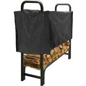 Agréable foyer 4 'robuste rack de stockage de bûches avec demi-couverture résistante aux intempéries LS938-48SC-K