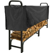 Pleasant Hearth 8' Heavy Duty Log Storage Rack with Half Cover Weather-Resistant LS938-96SC-K