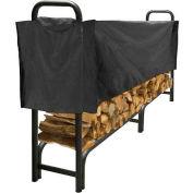 Agréable foyer 8 'robuste rack de stockage de bûches avec demi-couverture résistante aux intempéries LS938-96SC-K