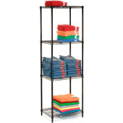 "Nexel® Black Epoxy Wire Shelving, 24""W X 14""D X 74""H"
