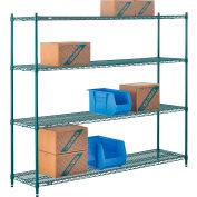 "Nexel® Poly-Green®, 4 Tier, Wire Shelving Starter Unit, 72""W x 14""D x 63""H"