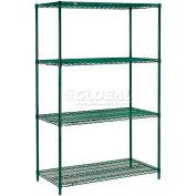 "Nexel® Poly-Green®, 4 Tier, Wire Shelving Starter Unit, 36""W x 18""D x 63""H"