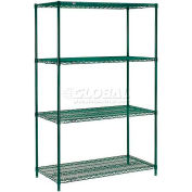 "Nexel® Poly-Green®, 4 Tier, Wire Shelving Starter Unit, 60""W x 24""D x 63""H"
