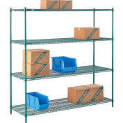 "Nexel® Poly-Green®, 4 Tier, Wire Shelving Starter Unit, 72""W x 21""D x 74""H"