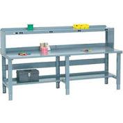 Global Industrial™ 96x36 Extra Long Steel Top Workbench - Side/Back Rails, Shelf & Power Riser