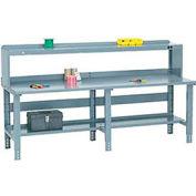 Global Industrial™ 96x30 Extra Long Steel Top Workbench - Side/Back Rails, Shelf & Riser - Gray