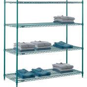 "Nexel® Poly-Green®, 5 Tier, Wire Shelving Starter Unit, 72""W x 21""D x 86""H"