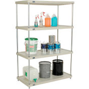 "Nexel® Solid Plastic Shelving Unit - Silver Epoxy Posts - 48""W x 24""D x 63""H - 4 Shelf"