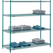 "Nexel® Poly-Green®, 5 Tier, Wire Shelving Starter Unit, 54""W x 24""D x 74""H"